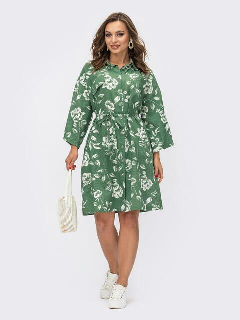 Принтованное платье-рубашка зелёного цвета на пуговицах 54117, фото 1