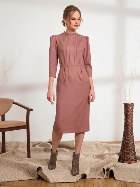 Пудровое платье-футляр с прорезными карманами 44234, фото 1