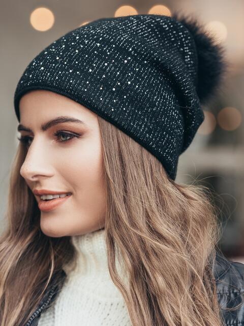 Черная шапка со стразами 14724, фото 1