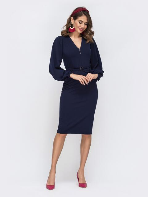 Обтягивающее платье с манжетом на резинке тёмно-синее 42620, фото 1