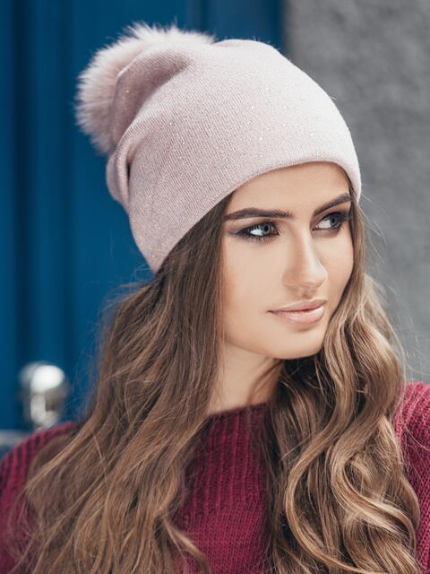Розовая шапка со стразами 14721, фото 1