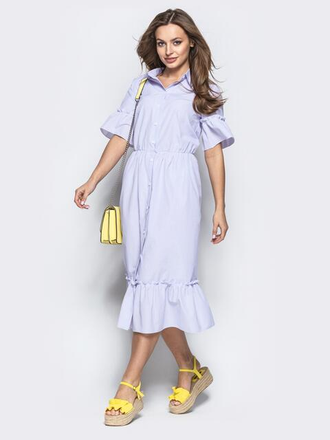 Сиреневое платье-рубашка с воланом по низу 21644, фото 1