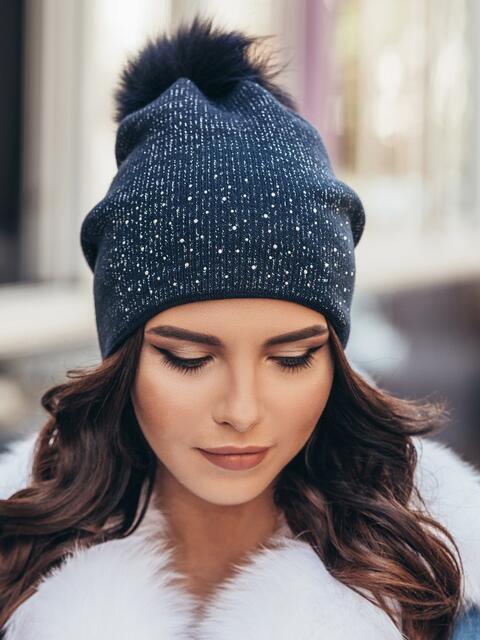 Темно-синяя шапка со стразами 14720, фото 1