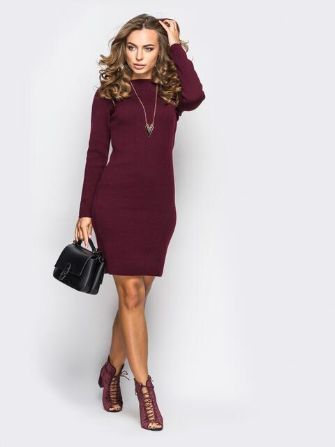 Вязанное платье-футляр с длинным рукавом бордовое 13772, фото 1