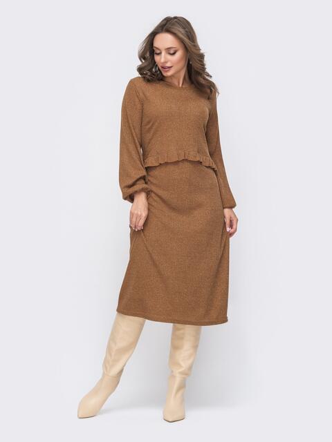 Коричневое платье приталенного кроя с люрексом 51326, фото 1
