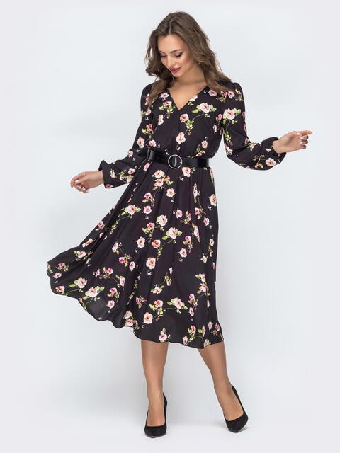 Платье с принтом и резинкой по талии чёрное 45847, фото 1