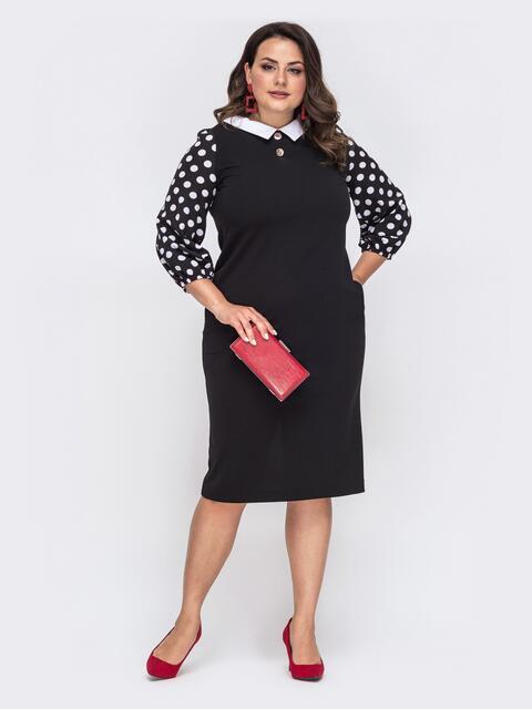 Приталенное платье батал с рукавами из софта в горох чёрное 49867, фото 1
