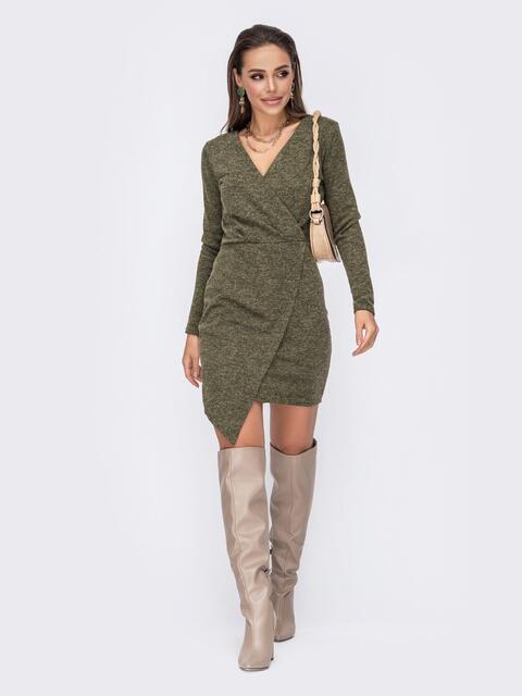 Приталенное платье цвета хаки с асимметричным низом 52805, фото 1