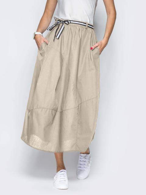 Бежевая юбка из хлопка с карманами 54477, фото 1