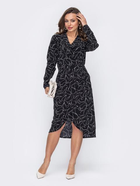 Черное платье из принтованного софта на запах 53095, фото 1