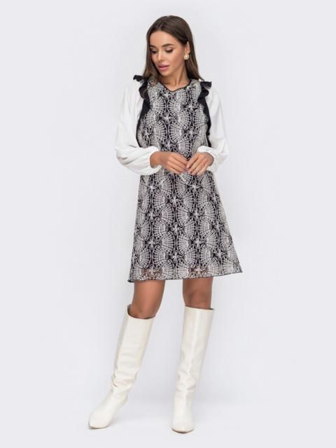Черное платье из сетки с контрастной вышивкой и оборками 53094, фото 1