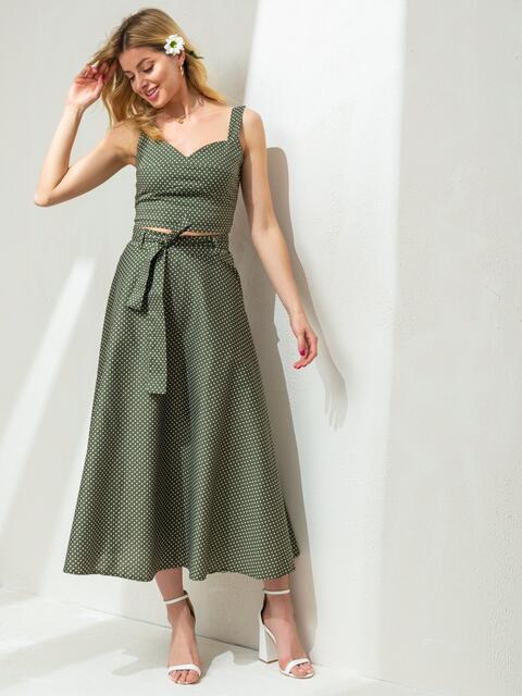 Костюм цвета хаки в горох из топа и юбки 47430, фото 1