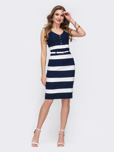 Обтягивающее платье в полоску с v-вырезом тёмно-синее 47429, фото 1
