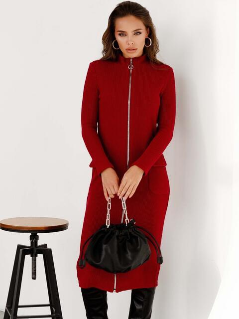 Трикотажное платье-миди на молнии бордовое 52340, фото 1