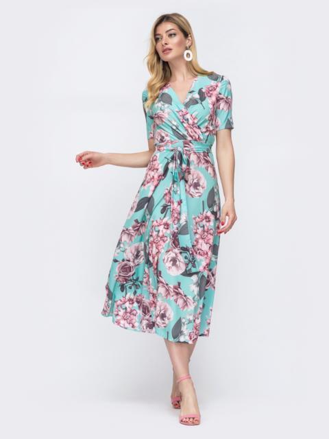 Бирюзовое платье с цветочным принтом и лифом на запах 48537, фото 1