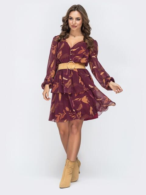 Бордовое платье с принтом и оборками по низу 45086, фото 1