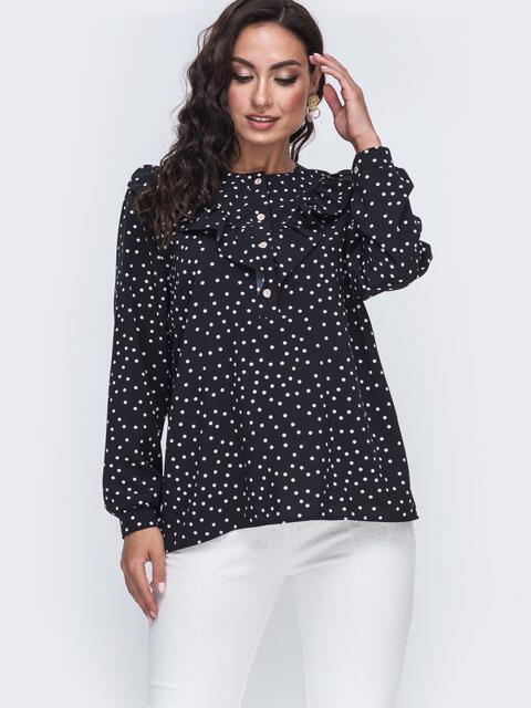 Чёрная блузка в мелкий горох большого размера 49813, фото 1
