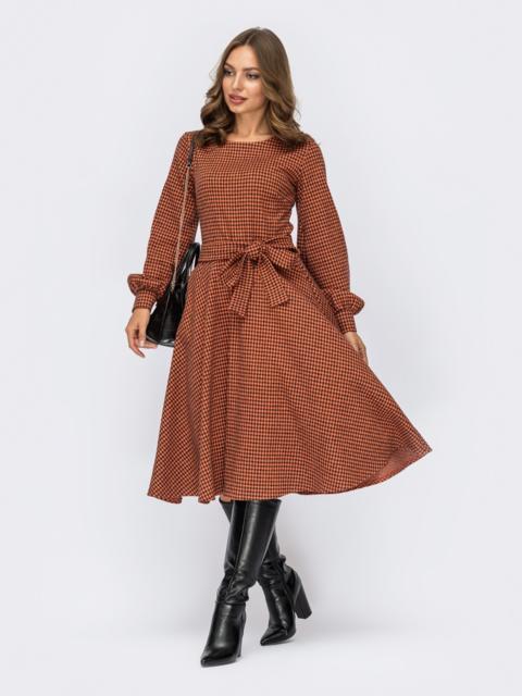 Терракотовое платье в клетку с обьемными рукавами и юбкой клеш  55294, фото 1