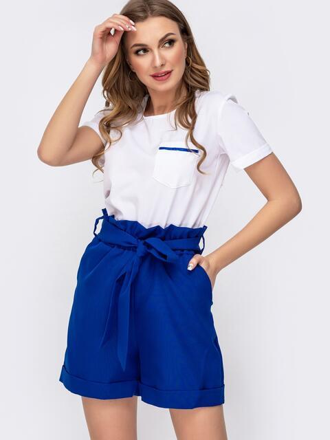 Комплект с шортами с высокой посадкой синий 46624, фото 1