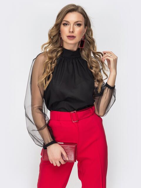 Чёрная блузка с рукавами из фатиновой сетки 44866, фото 1