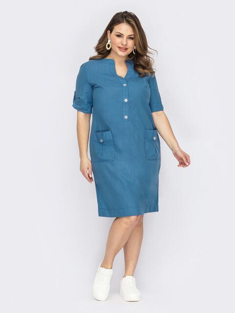 Льняное платье батал с накладными карманами голубое 53740, фото 1