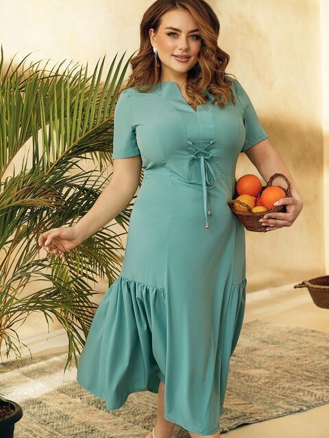 Платье из софта с воланом по низу юбки бирюзовое 53741, фото 1