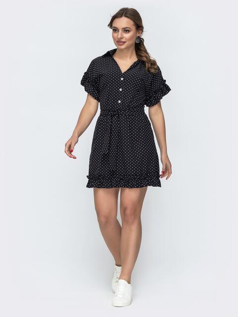 Расклешенное платье в горошек черного цвета 47026, фото 1