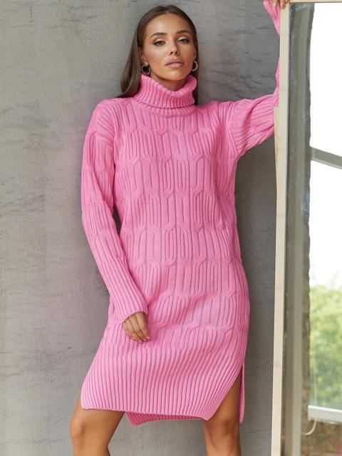 Вязаное платье с воротником и разрезами по бокам розовое 54944, фото 1