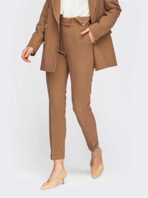 Коричневые зауженные брюки на молнии 54663, фото 1