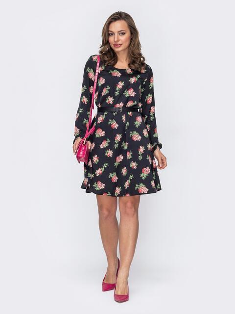 Черное платье-трапеция в цветочный принт 53635, фото 1