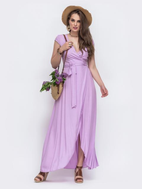 """Фиолетовое платье-макси на запах с рукавом """"крылышко"""". 48498, фото 1"""
