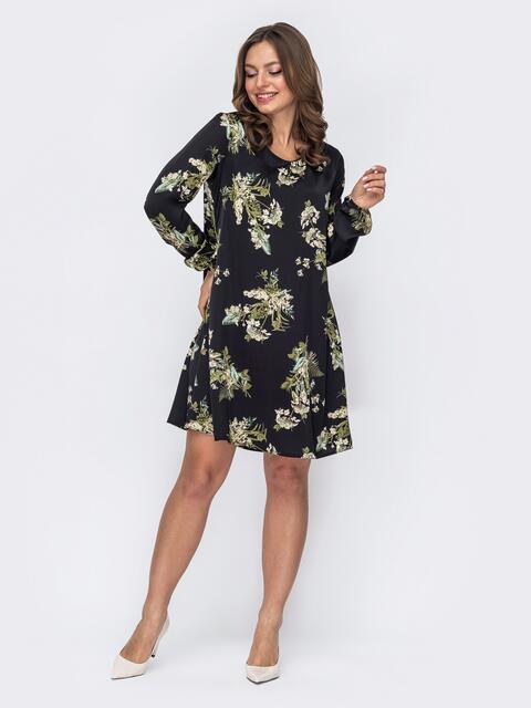 Платье-трапеция в цветочный принт черное 53636, фото 1
