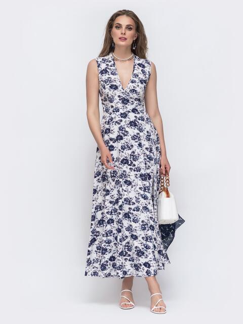 Белое платье на запах в цветочный принт 47073, фото 1