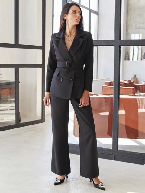 Классический брючный костюм с пиджаком черный 54976, фото 1