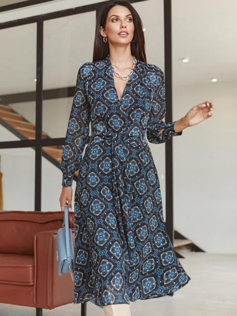 Шифоновое платье с принтом и лифом на запах черное 54975, фото 1