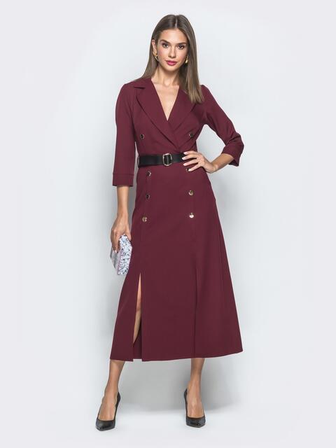 Длинное платье-пиджак с разрезами по бокам бордовое 40037, фото 1