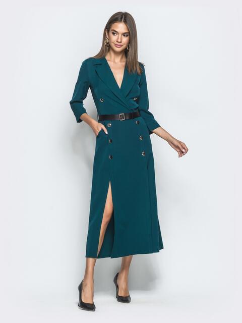 Длинное платье-пиджак с разрезами по бокам синее 40036, фото 1