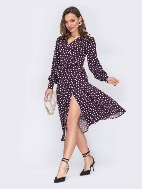 Фиолетовое платье на запах из вискозы в горох 53097, фото 1