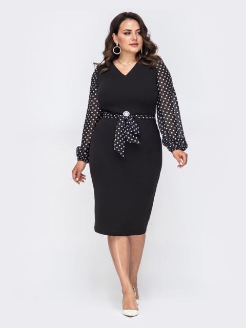 Платье большого размера с рукавами из софта в горох чёрное 49868, фото 1