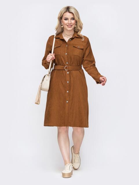 Платье-рубашка большого размера из вельвета коричневое 49833, фото 1