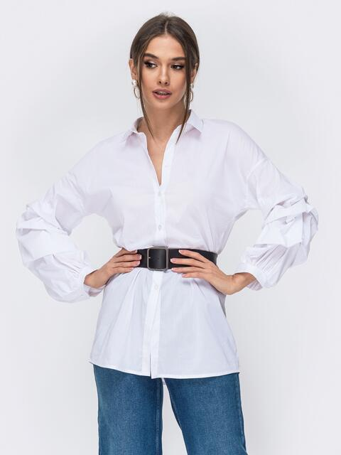 Белая рубашка со спущенной линией плеч 44065, фото 1