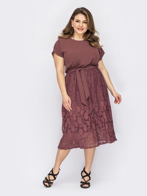 Бордовое платье батал с юбкой-клеш из кружева 53721, фото 1