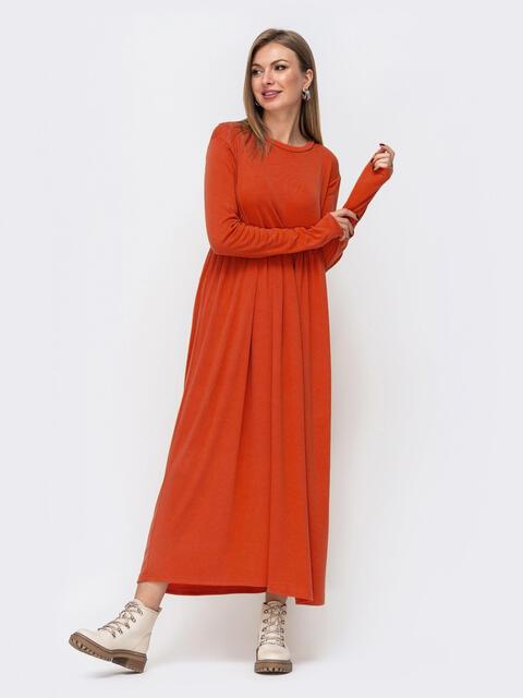 Платье в пол с завышенной талией терракотовое 52356, фото 1