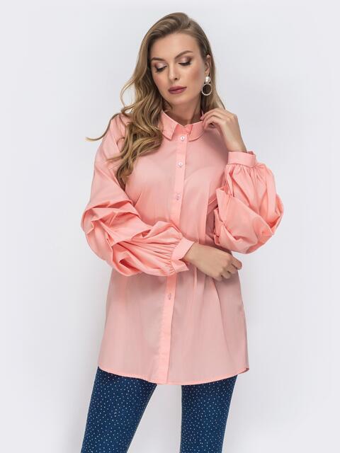 Розовая рубашка со спущенной линией плеч 44066, фото 1
