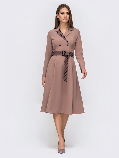 Платье с расклешенной юбкой и вставками в горох бежевое 41381, фото 1