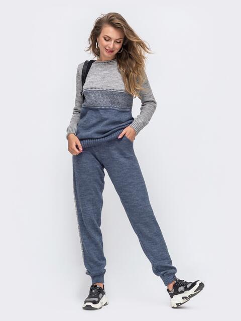 Синий вязаный комплект с брюками на резинке 50430, фото 1