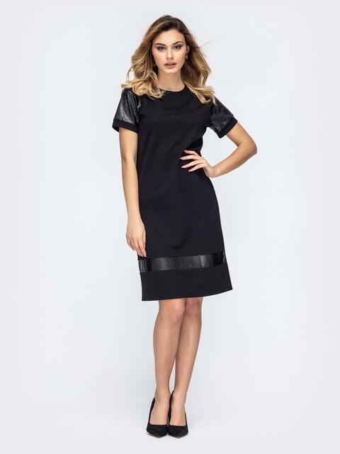 Чёрное платье со вставками из эко-кожи 45780, фото 1