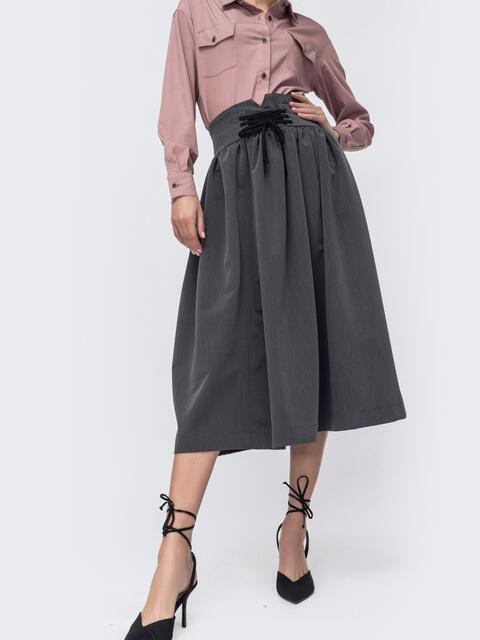 Расклешенная юбка-миди серого цвета 45357, фото 1