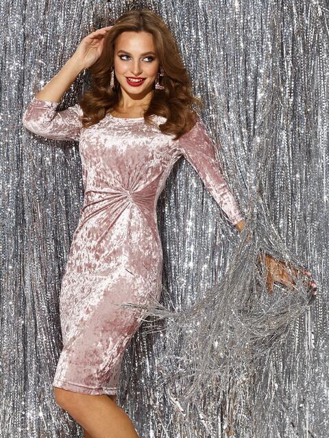 Платье-футляр из велюра цвета пудра 42944, фото 1