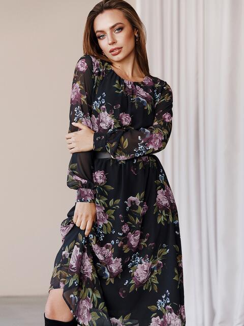 Платье из шифона с принтом и расклешенной юбкой черное 52934, фото 1